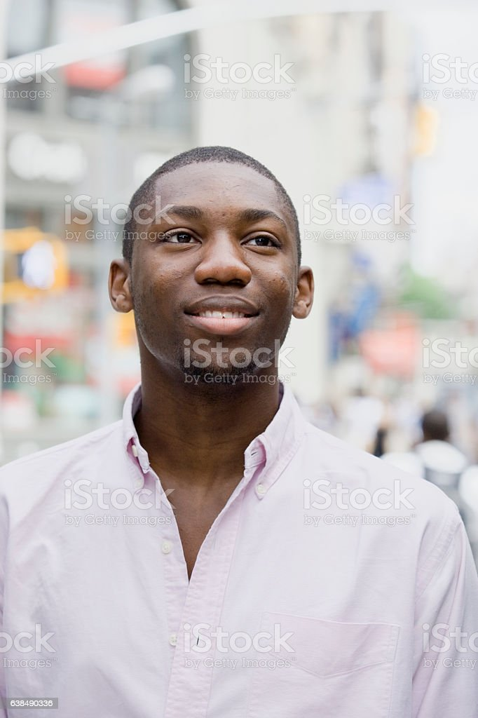 Portrait of young Black man in downtown city stock photo