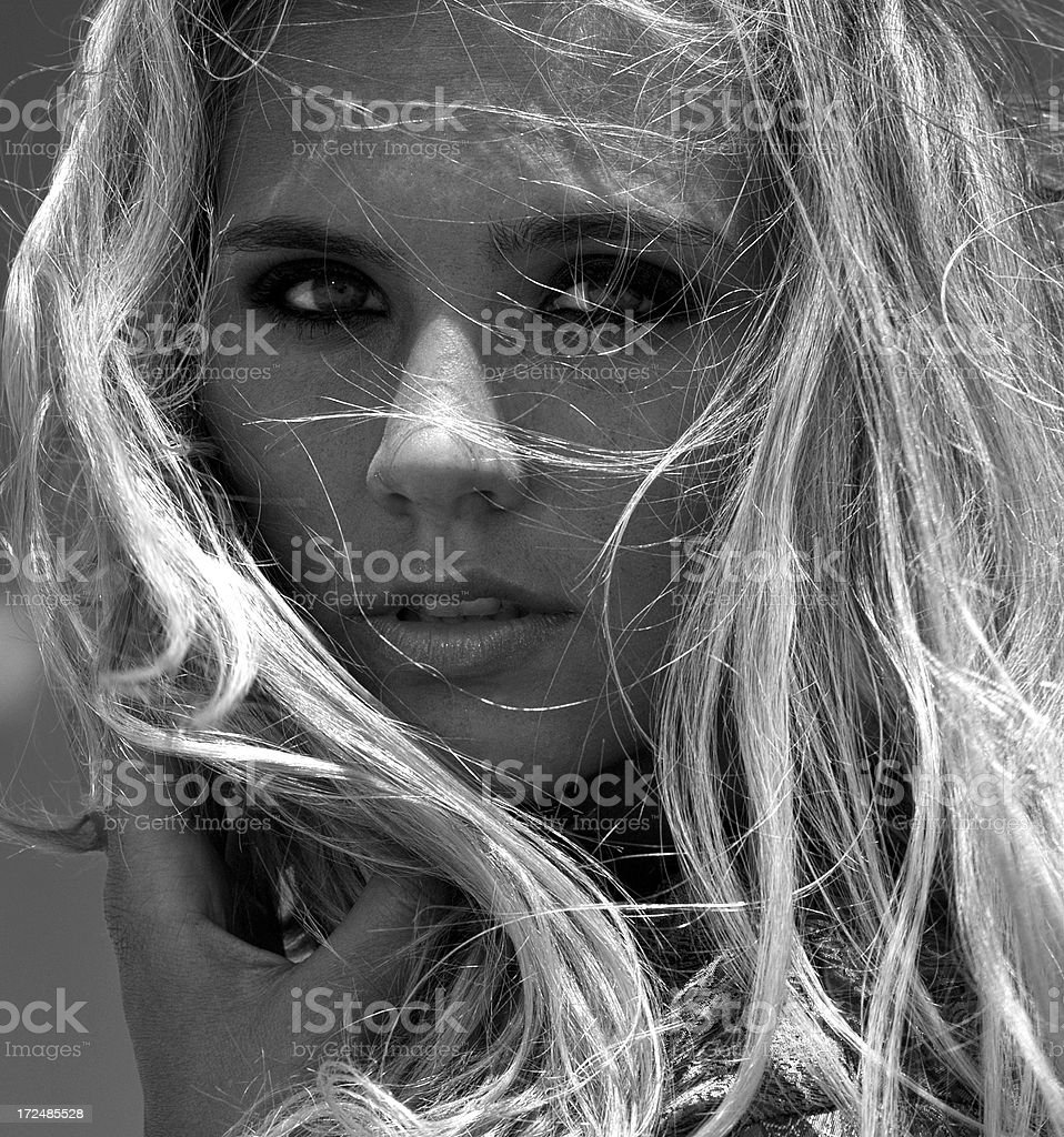 portrait of  young blond girl stock photo