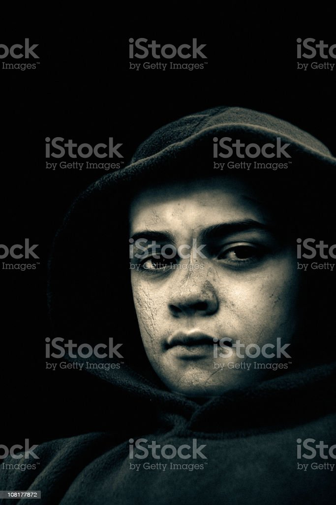 Portrait of Young Boy, Black and White royalty-free stock photo