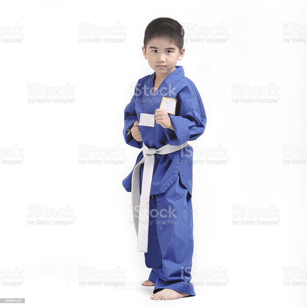 portrait of  young boy doing karate moves royalty-free stock photo