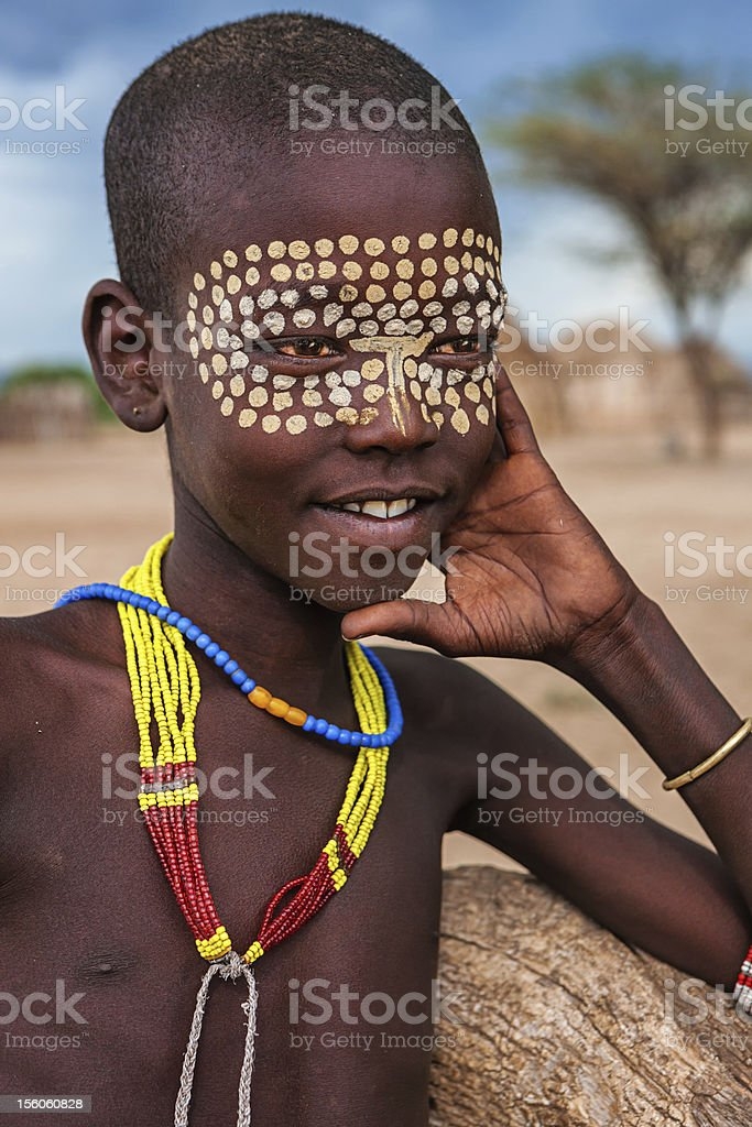 Portrait of young boy from Erbore tribe, Ethiopia, Africa royalty-free stock photo