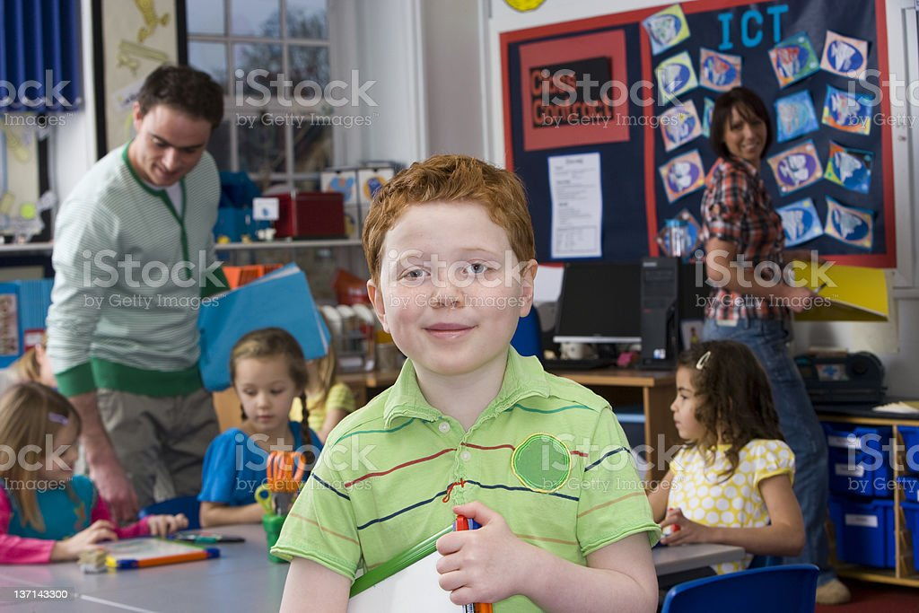Portrait of Young Boy in Classroom royalty-free stock photo
