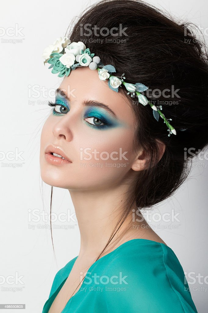 Portrait of young brunette girl stock photo