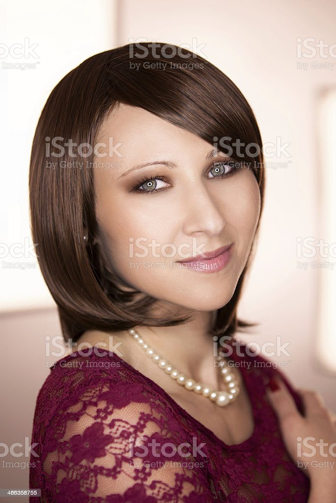 Portrait of young brunette stock photo