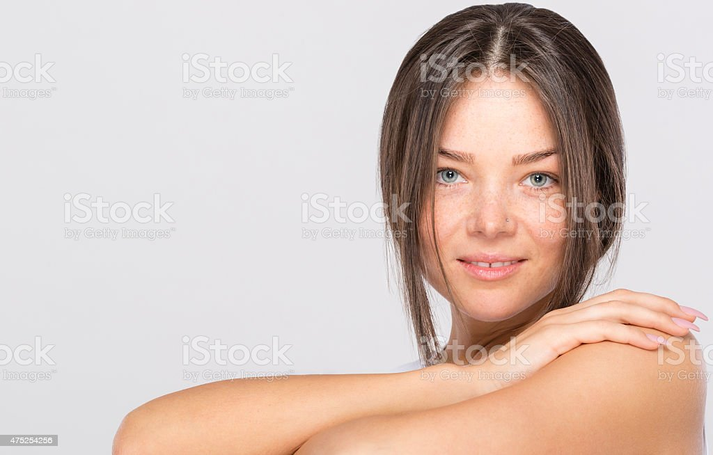Portrait of young brunette woman. stock photo