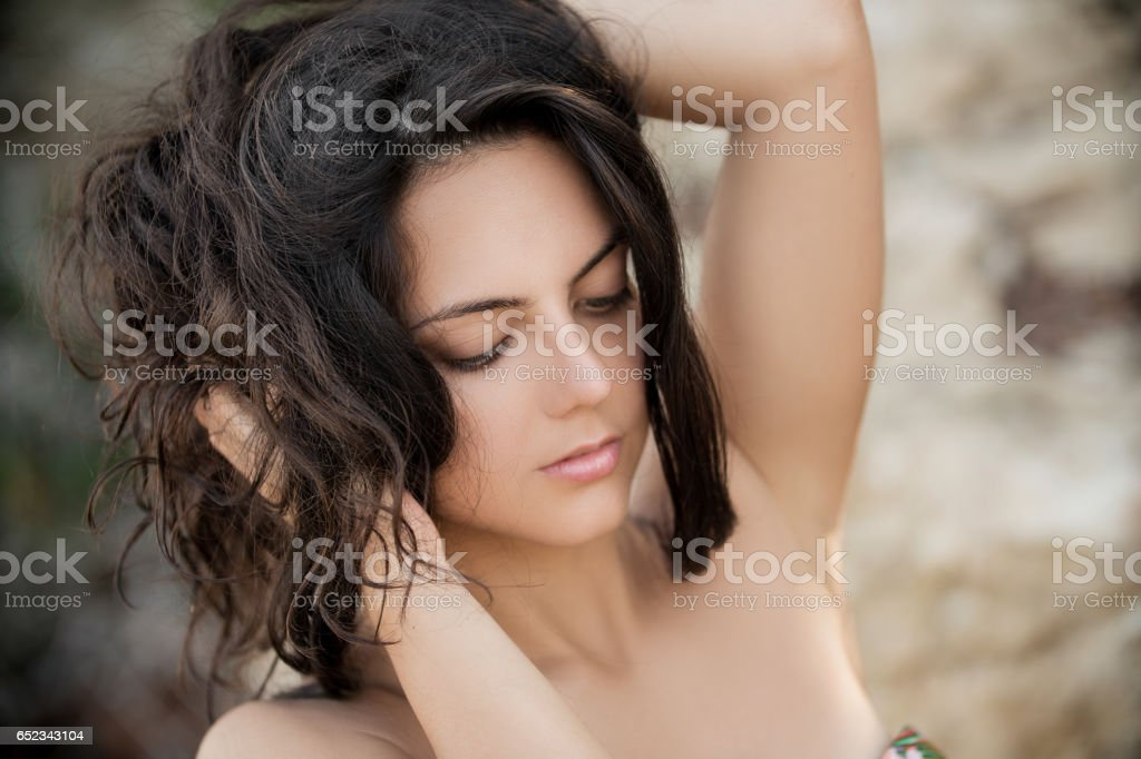 portrait of young brunette woman stock photo