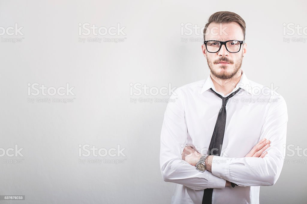 Portrait of young business man stock photo