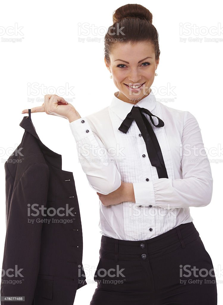 Portrait of young business woman with black suit stock photo