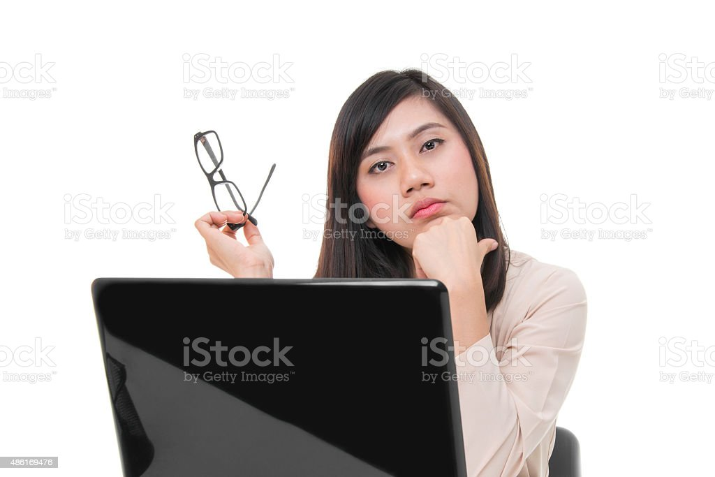 Portrait Of Young Businesswoman With Glasses royalty-free stock photo