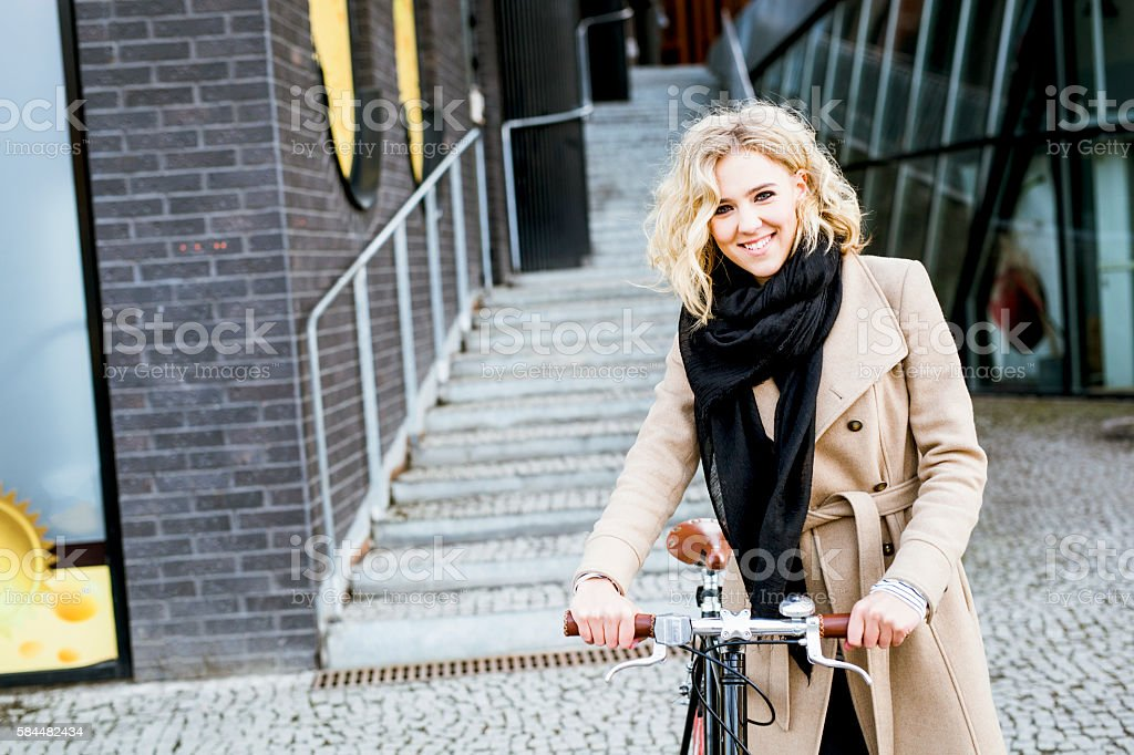 Portrait of Young CEO Going Home From Office With Bicycle stock photo