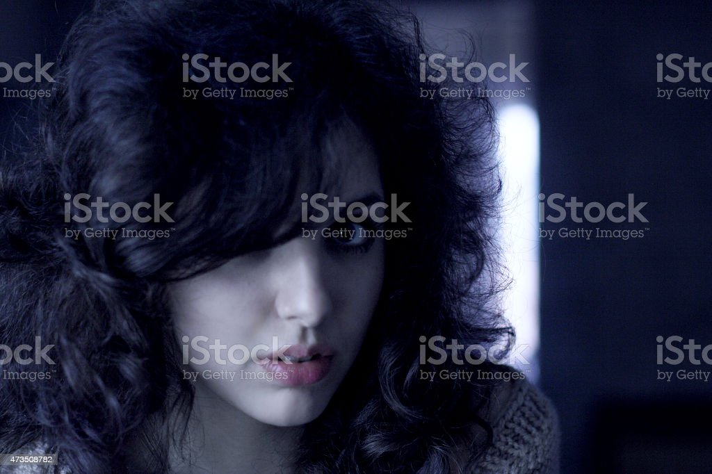 Portrait of young charming girl stock photo