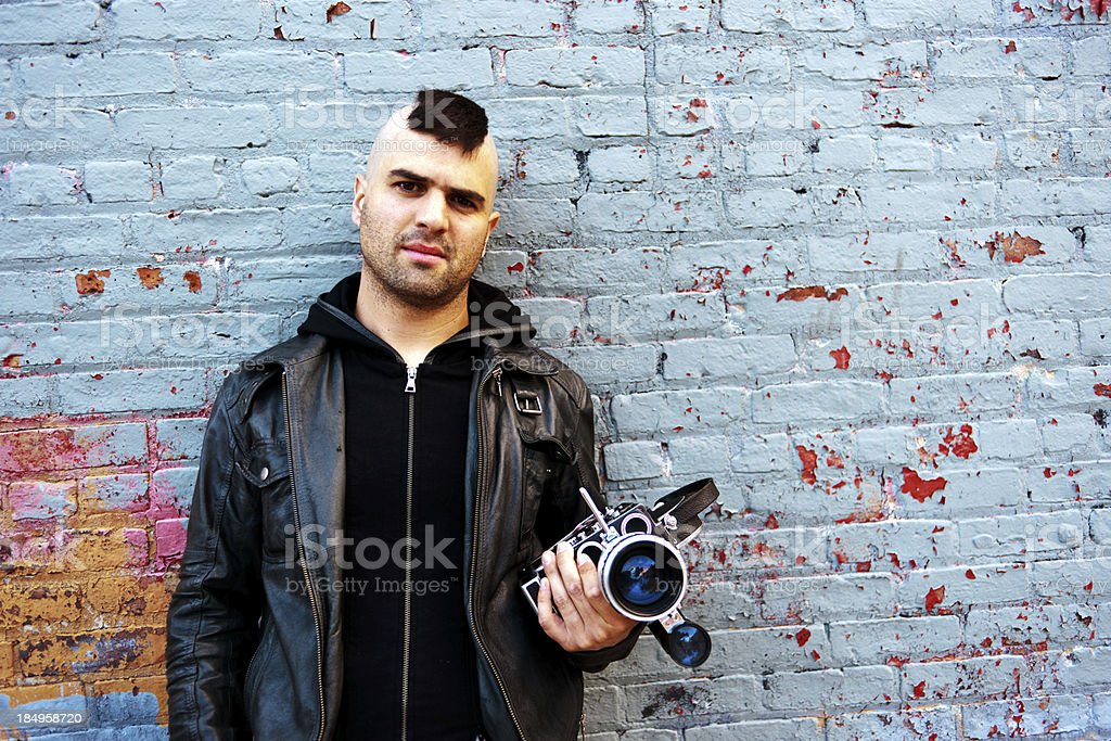 Portrait of young cinematographer stock photo
