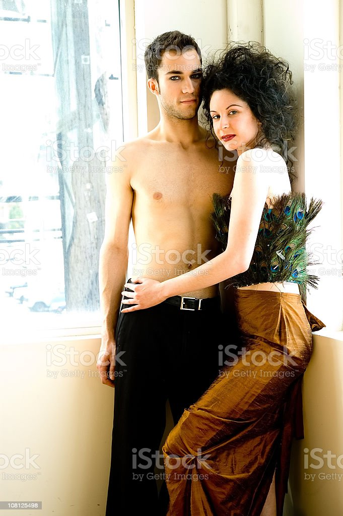 Portrait of Young Couple Embracing royalty-free stock photo