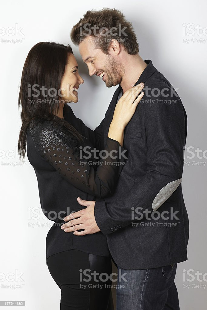 Portrait of young couple in love smiling royalty-free stock photo