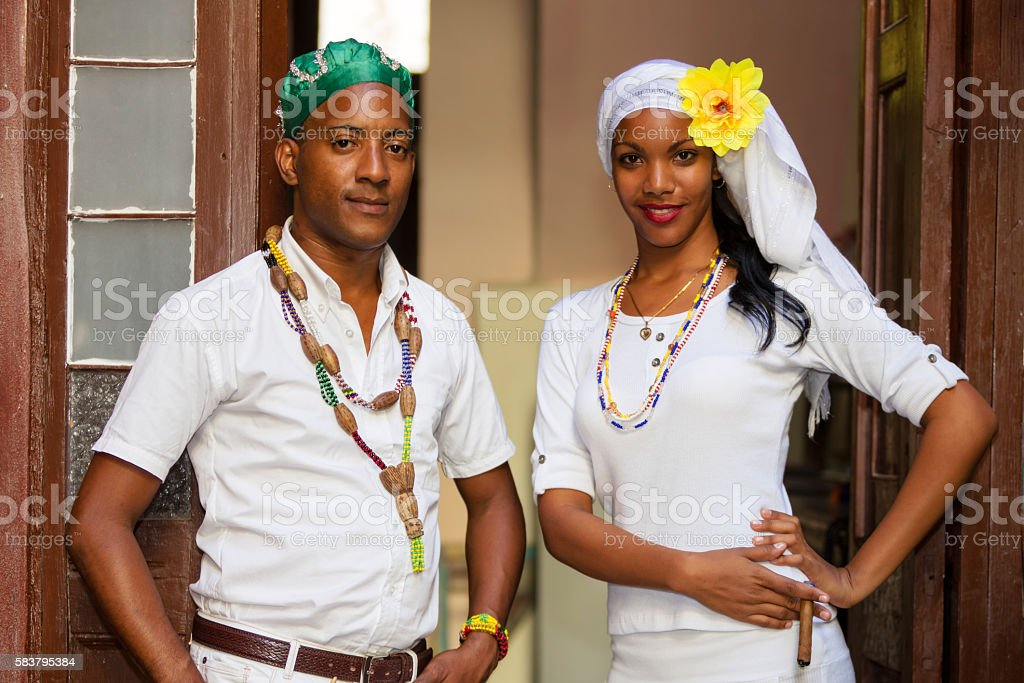 Portrait of Young Cuban Couple stock photo
