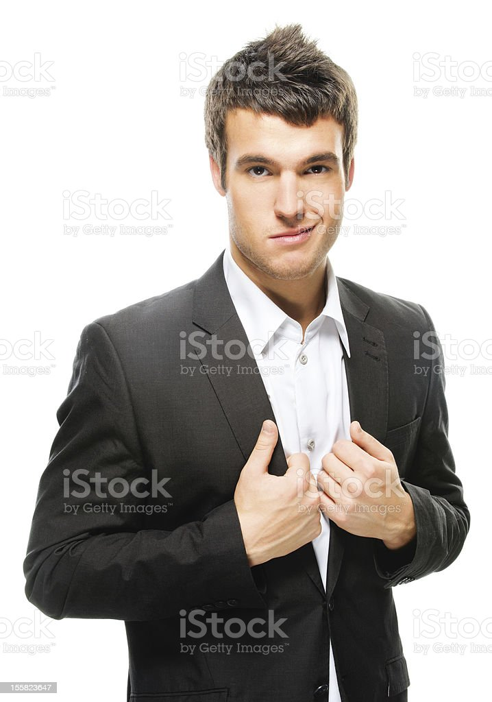 portrait of young dark-haired man wearing jacket royalty-free stock photo