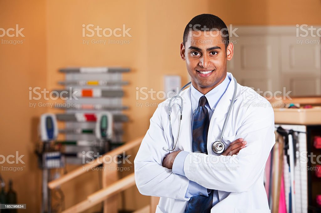 Portrait of young doctor stock photo
