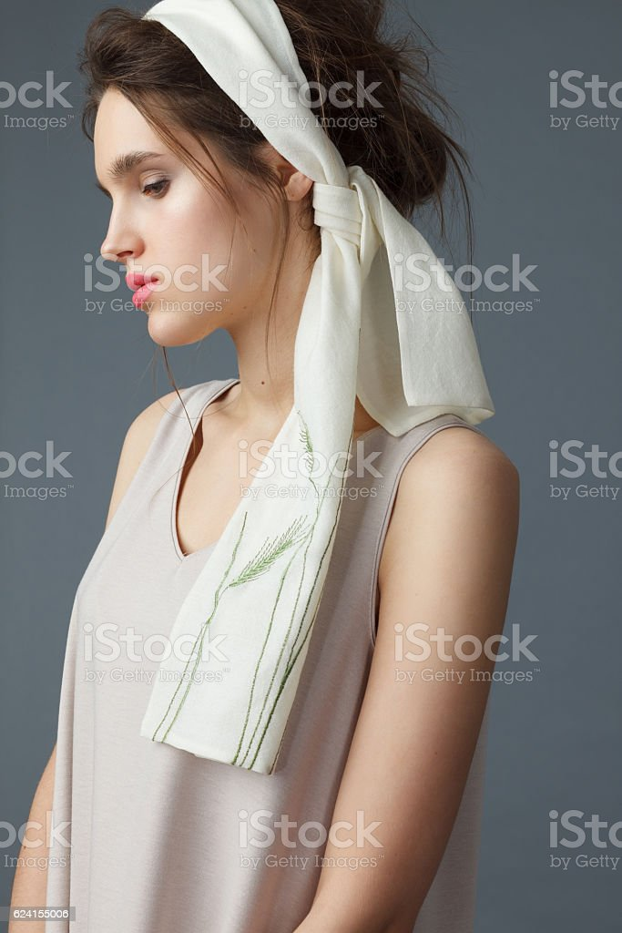 Portrait of young elegant woman with handkerchief stock photo