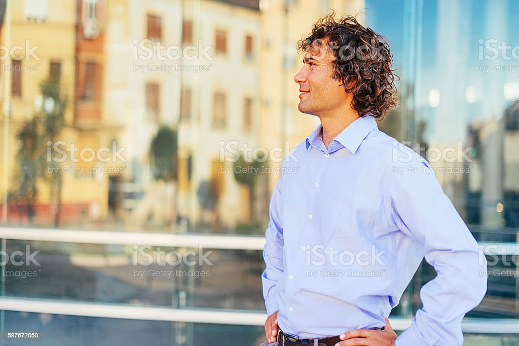 Portrait of young engineer or architect stock photo