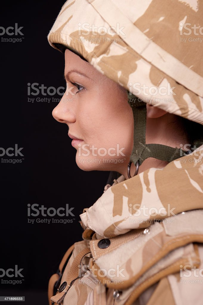 Portrait of Young Female Soldier stock photo