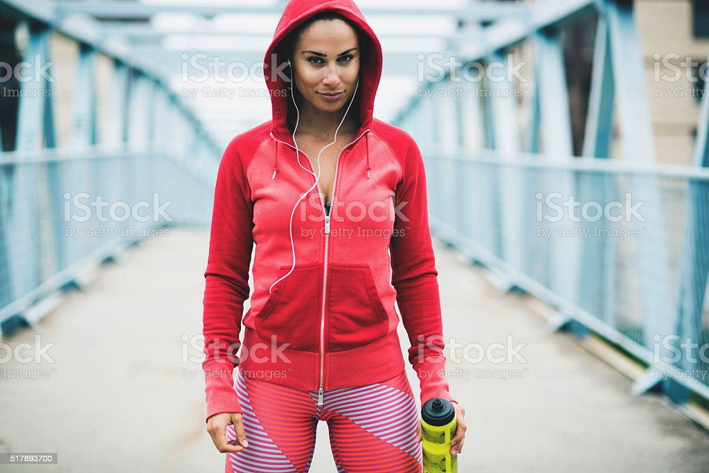 Portrait of young fitness woman stock photo