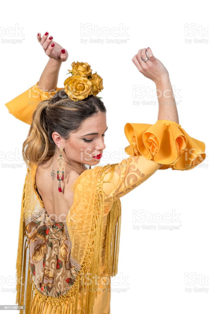 Portrait of young Flamenco dancer in beautiful dress stock photo