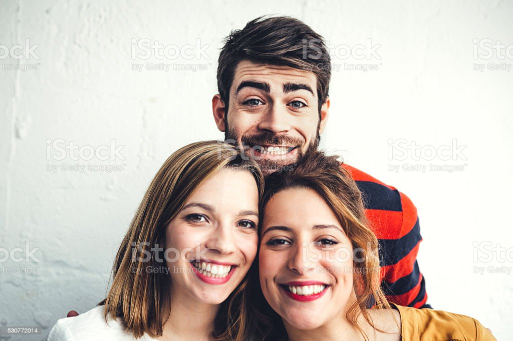Portrait Of Young Friends From Paris stock photo