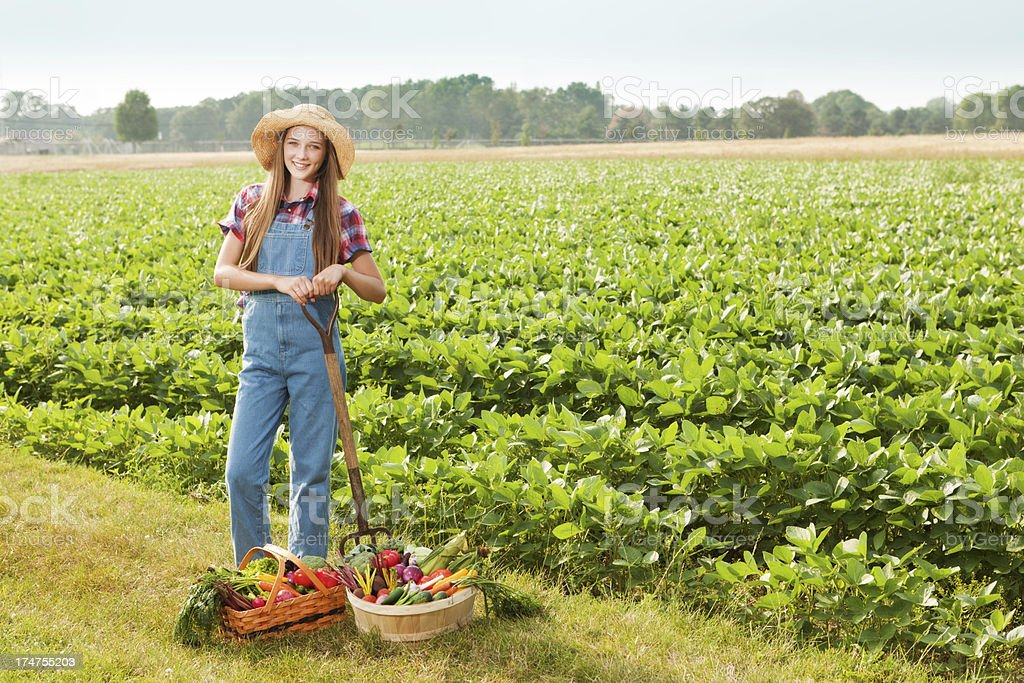 Portrait of Young Girl Farmer with Harvested Vegetables by Field royalty-free stock photo