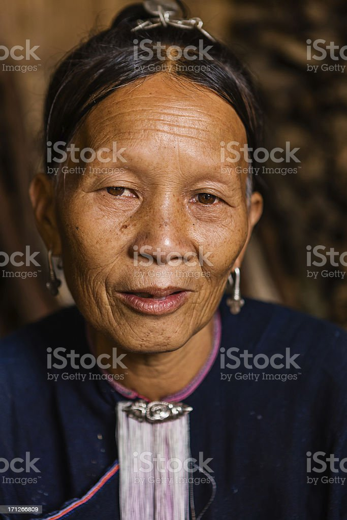 Portrait of young girl from the Lantan hill tribe stock photo