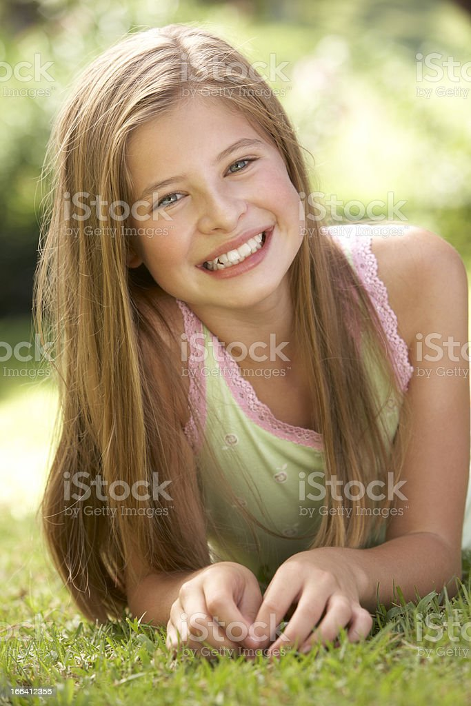 Portrait Of Young Girl Relaxing In Countryside royalty-free stock photo