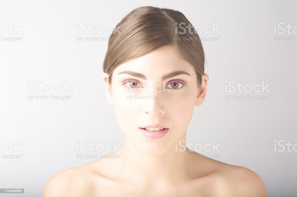 Portrait of young girl with naked shoulders royalty-free stock photo