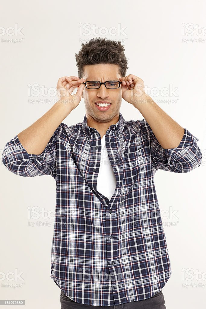 Portrait of young guy wearing glasses royalty-free stock photo