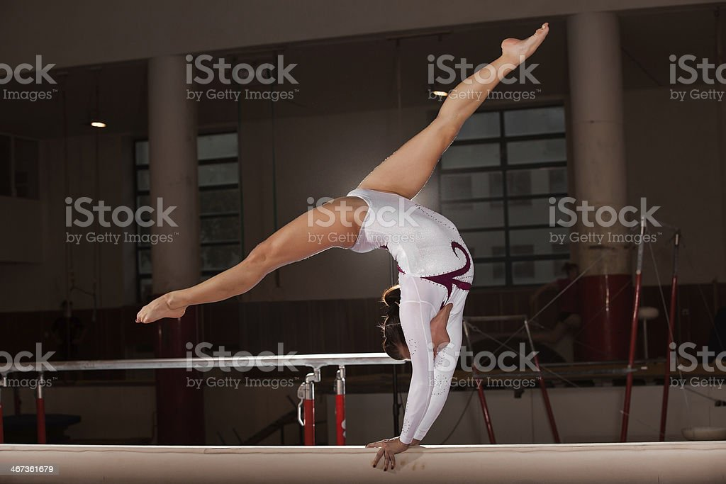 portrait of young gymnasts training in the stadium stock photo