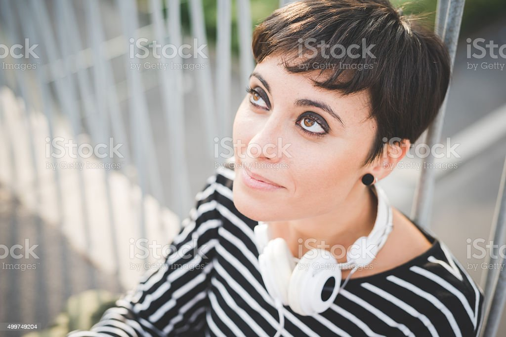 Portrait of young handsome caucasian brown straight hair woman l stock photo