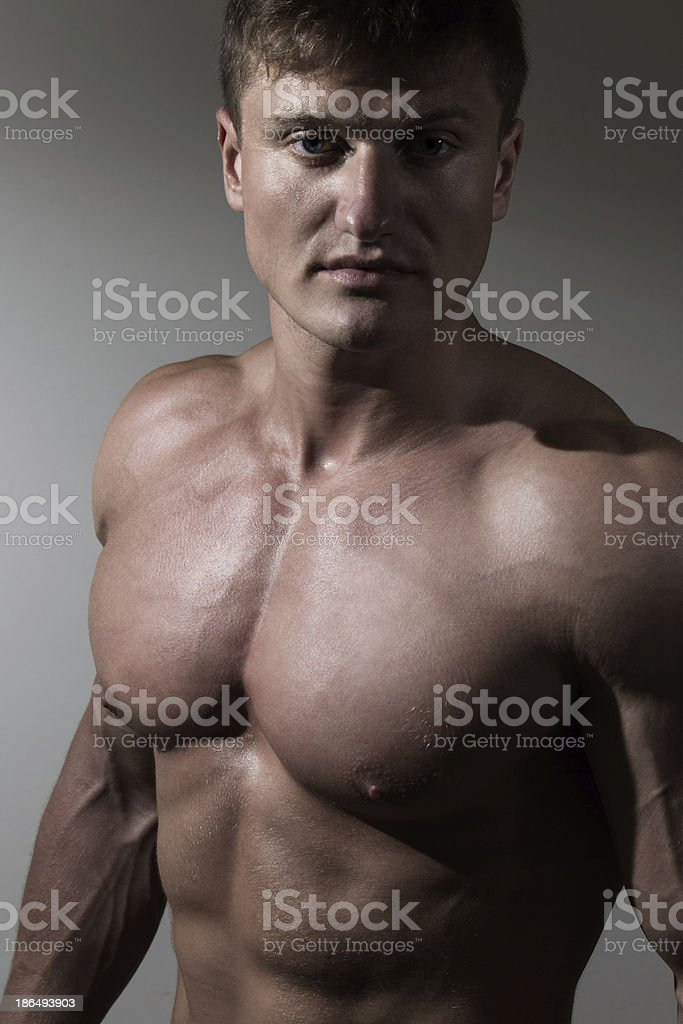Portrait of young handsome naked man royalty-free stock photo