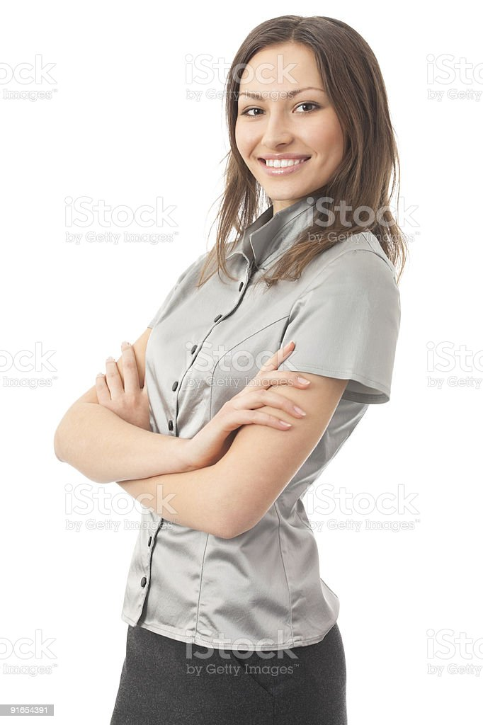Portrait of young happy businesswoman, isolated on white royalty-free stock photo