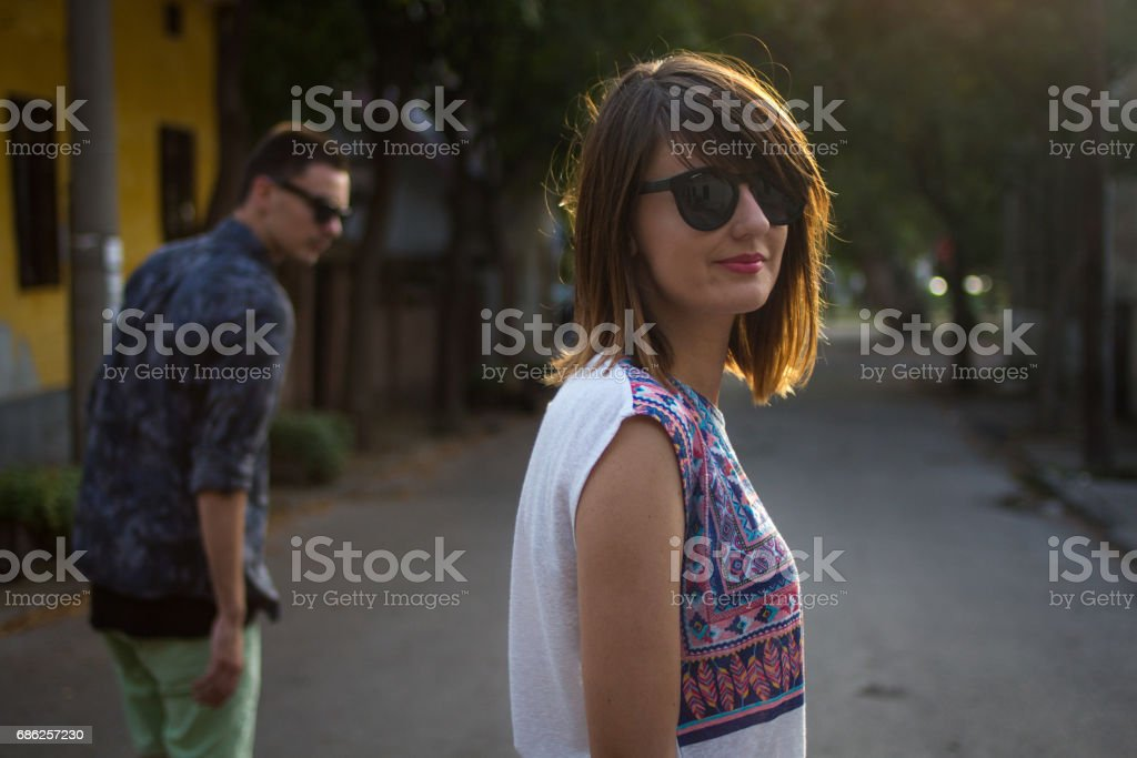Portrait of young hipster girl stock photo