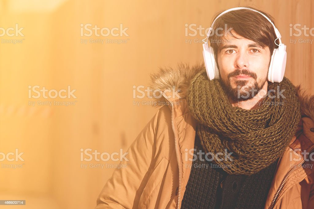 portrait of young hipster man instagram filter applied stock photo