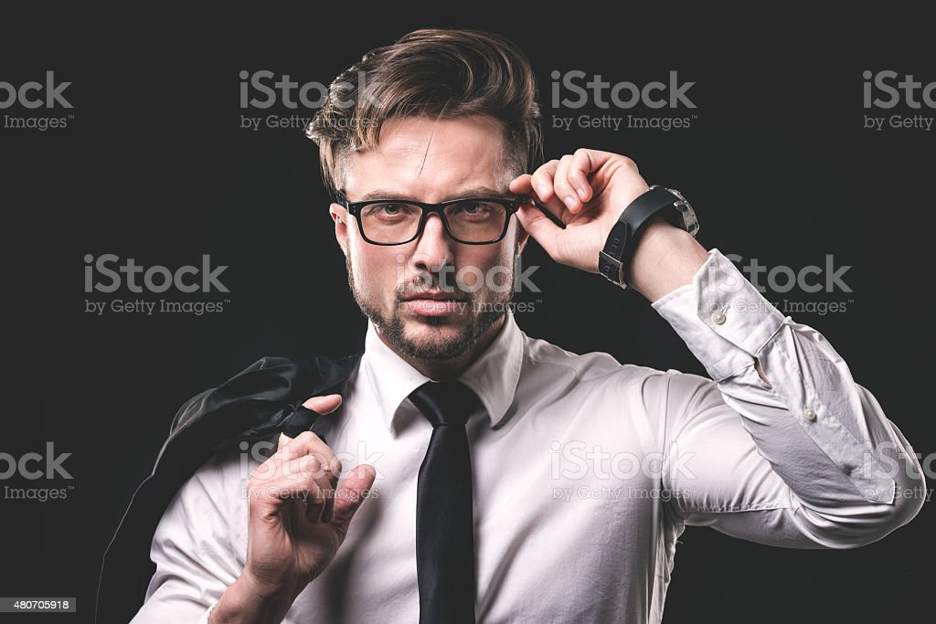 Portrait of young hipster stock photo