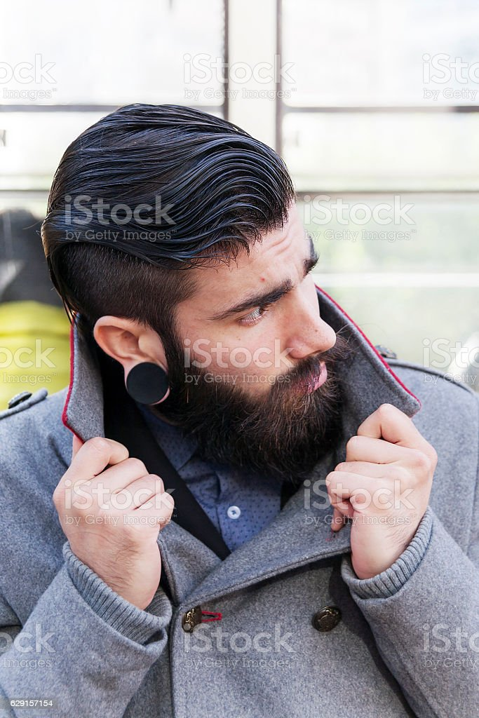 portrait of young hipsters businessman around a fashion city stock photo