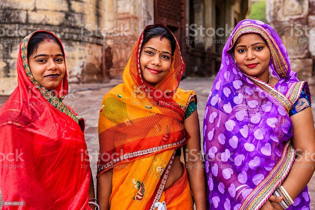 Portrait of young Indian women Jodhpur, India stock photo