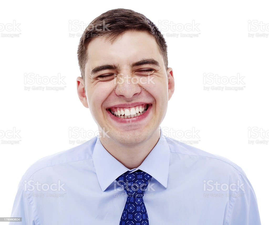 Portrait of young laughing businessman royalty-free stock photo