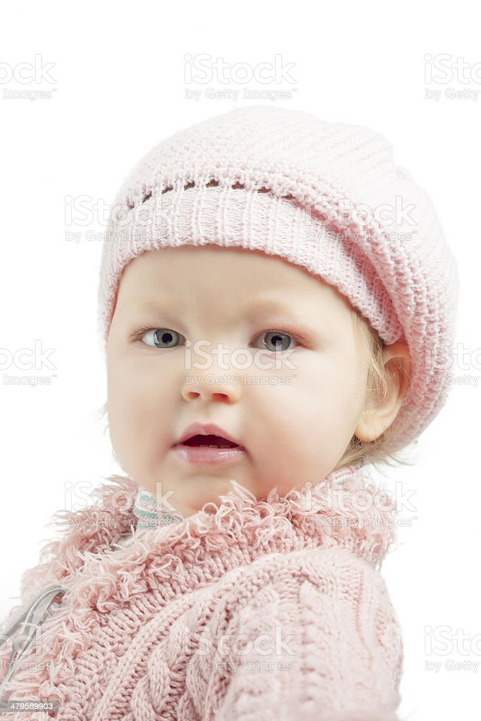 Portrait of young little girl over white stock photo