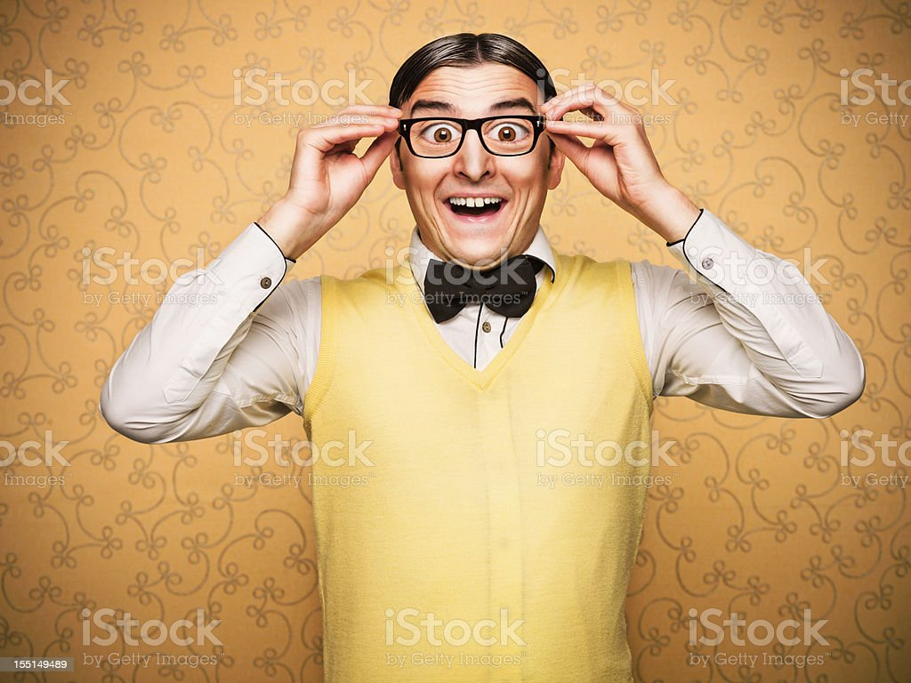 Portrait of young male nerd stock photo