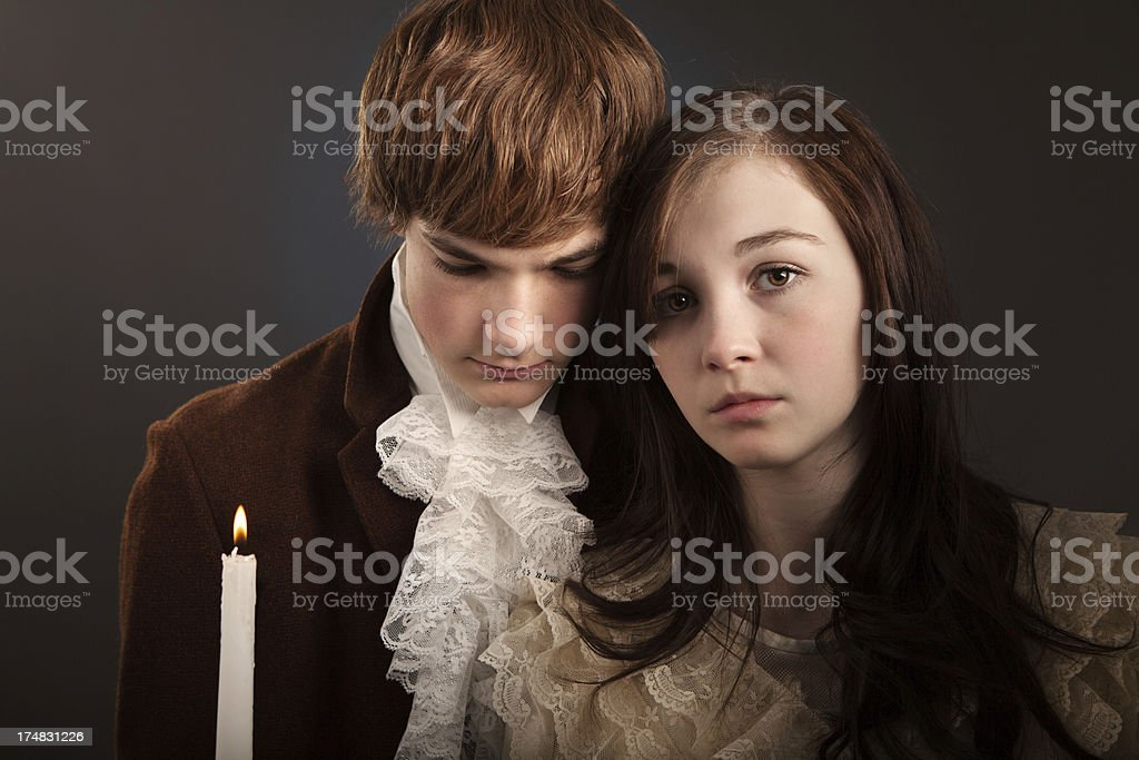 Portrait of Young Man and Woman Vintage Style stock photo