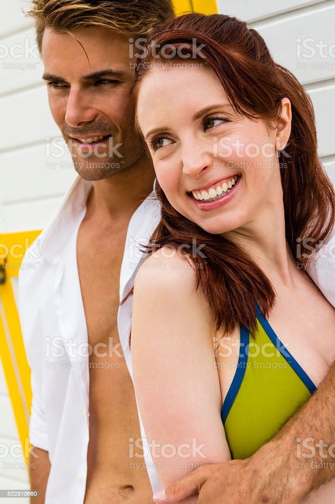 Portrait of young man and young woman stock photo