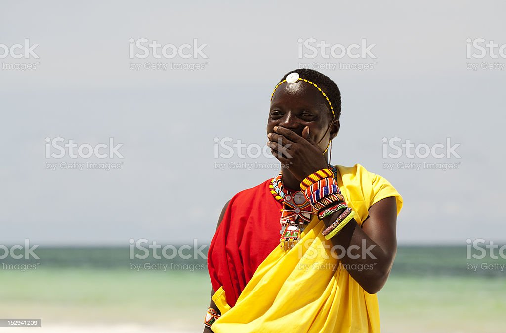 Portrait of young man as Massai warior royalty-free stock photo