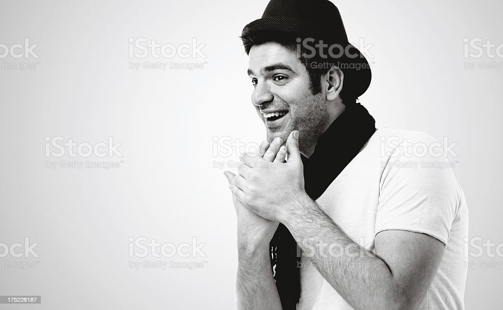 Portrait of young man black and white royalty-free stock photo