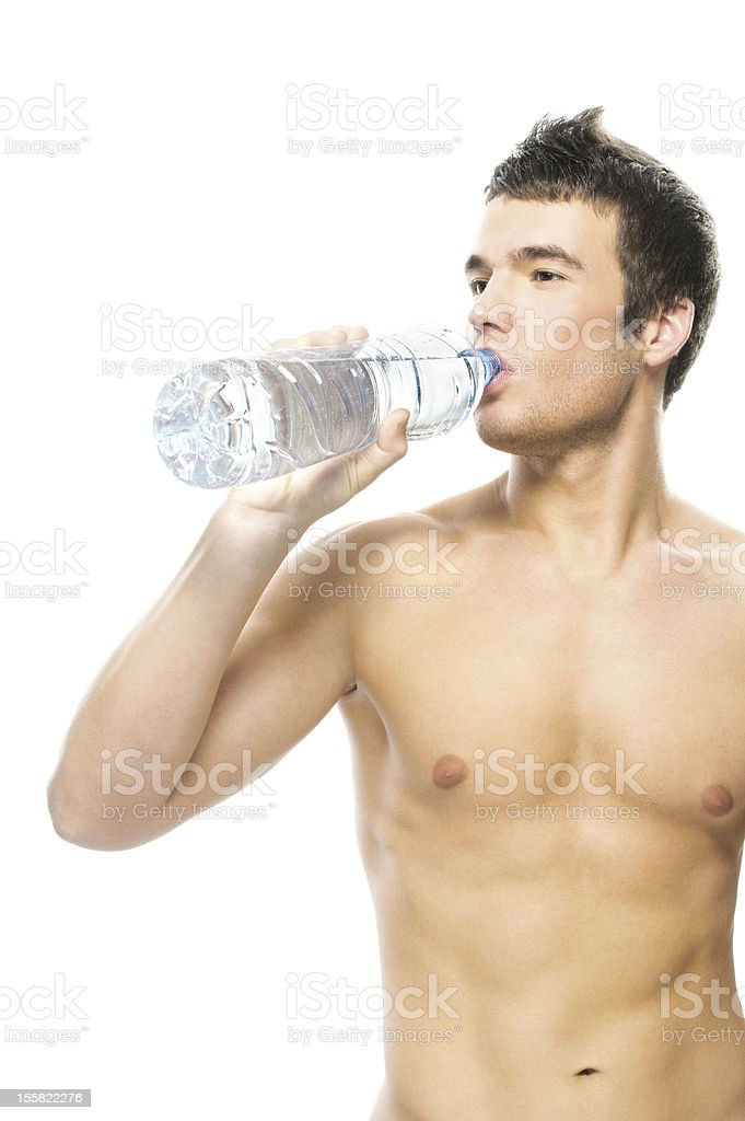 portrait of young man drinking water royalty-free stock photo