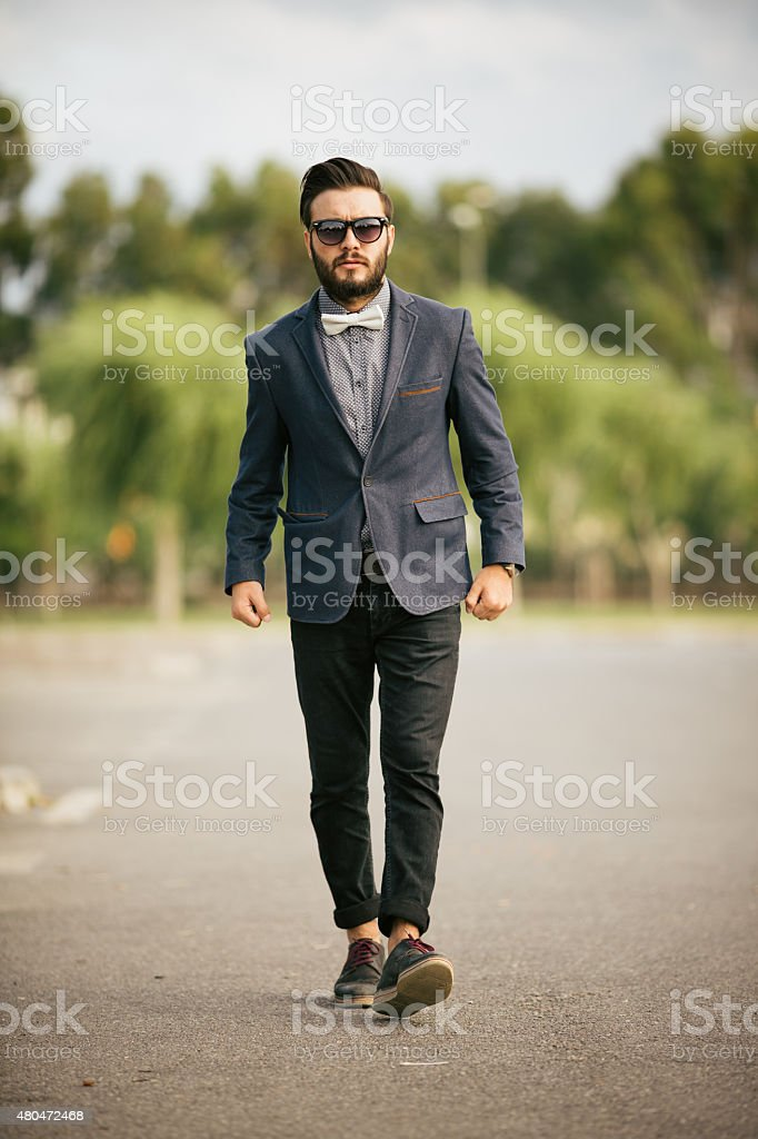 Portrait of young man - Hipster stock photo
